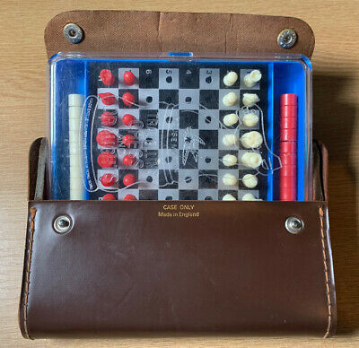 Vintage 1970s Travelling Chess & Draughts Set Hong Kong & Case Made In England • 19.99£