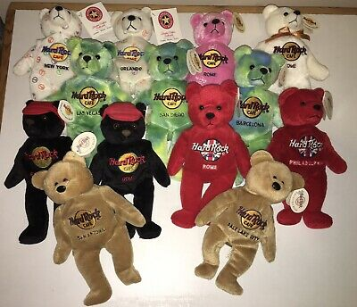 HARD ROCK CAFE 13 Retired Beanie Bears All Different • 32.99£
