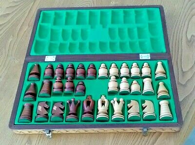 Fold Up Wooden Chess Set And Board Storage Box Complete • 32£