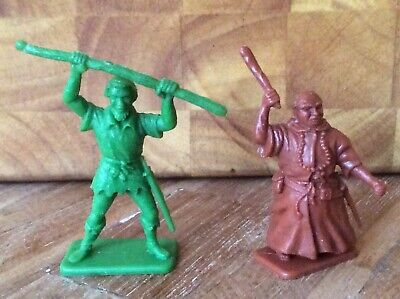 2 X 1960's CRESCENT TOYS FOR KELLOGGS CEREAL PLASTIC ROBIN HOOD SERIES FIGURES. • 4£
