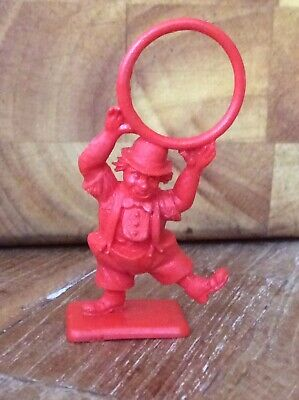 1960's CRESCENT TOYS FOR KELLOGGS SUGAR SMACKS PLASTIC CLOWN FIGURE WITH HOOP. • 3£