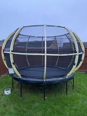 JumpKing 10ft Round Trampoline With ZorbPod Yellow Safety Enclosure • 80£