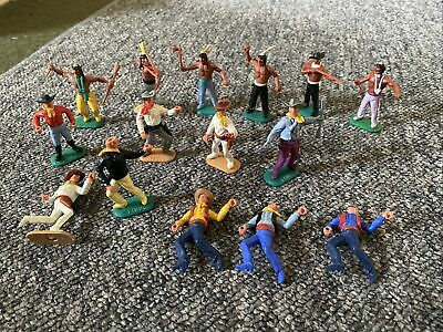 Timpo Cowboys And Indians Figures X12 Mixed Condition • 6£