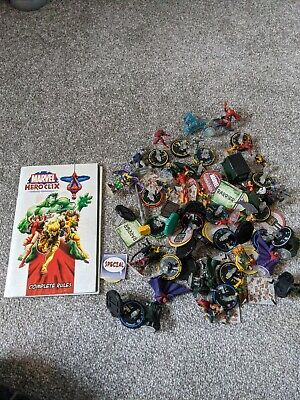 Marvel Heroclix Large Bundle Of ASSORTED FIGURES Plus Rules • 5£