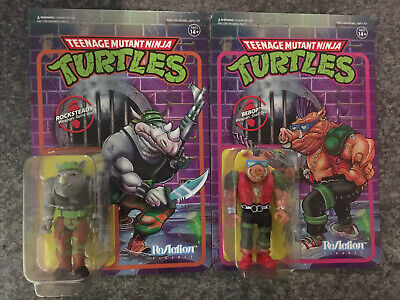 SUPER7 REACTION Teenage Mutant Ninja Turtles BEBOP & ROCKSTEADY 3.75  Figures  • 40£