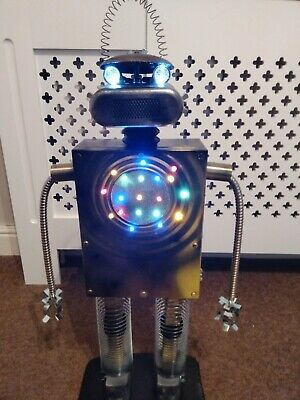 Upcycled Retro 70's Style Robot/ Steampunk Man Cave/ With Lights! • 50£