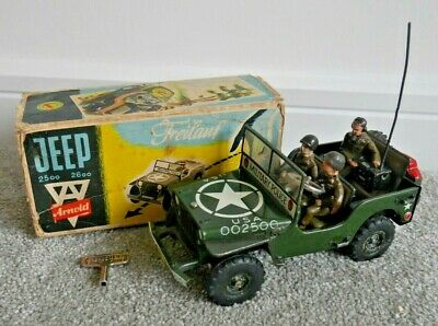 Arnold 2500 2600 Us Army Jeep 1953 Tinplate Clockwork Toy Rare With Box I790 • 475£