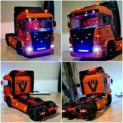 RC Tamiya Truck 1/14 SCANIA R470 ORANGE AND BLACK Must See Special Edition LED . • 699.99£