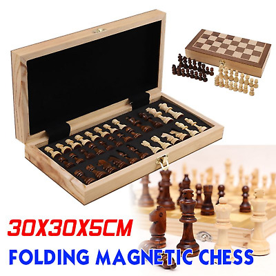 Large FOLDING WOODEN CHESS SET Board Game Toy Magnetic Pieces Wood Board UK • 20.59£
