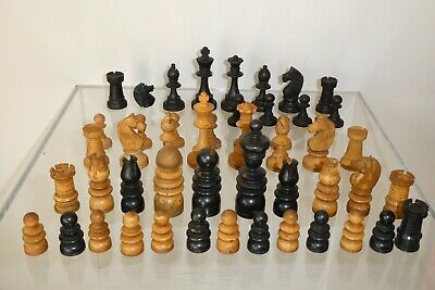 ANTIQUE 20th C  Hand Carved  2 Chess Sets, PARTS Chess Set , 50 PIECES.  • 30£
