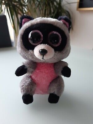 TY - Beanie Boo - Rocco The Racoon- Pink And Grey  - Soft Plush Toy 15cm • 0.99£