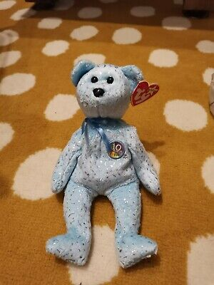 Ty Retired Beanie Baby Bear ~ Decade~ Light Blue Spangly VGC With Tags ©2002 • 2.99£