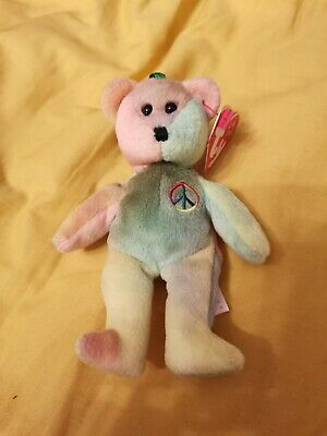 Ty - Teenie Beanie Babies Jingle Beanie Peace Sit Up Bear With Tag • 3£