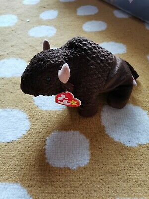 TY - Beanie Baby Roam The Buffalo Retired DOB 27/9/98 P.e. Pellets, Soft Toy • 5£