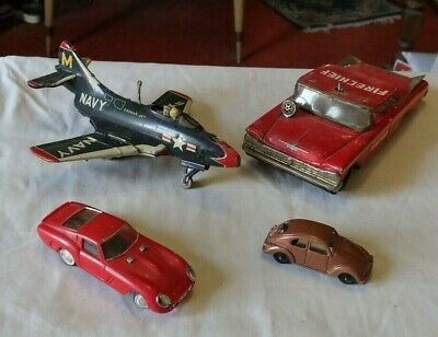 LOT Vintage Tin Toys Navy Airplane Fire Chief Car Ideal Race Car VW Beetle LOOK  • 3.08£