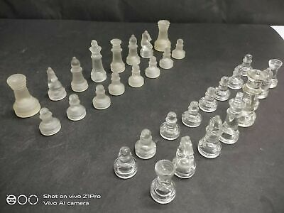 Old Vintage Rare Handmade Elegant Crystal Glass Chess Pieces, Collectible • 108.38£