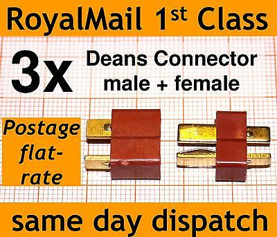 3x Deans Connector Male & Female T Plug 3 Pairs Of High Current Connectors Lipo • 3.20£