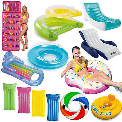 Inflatable Pocket Novelty Lounger Lilo Pool Float Mat Tube Rings Recliner Chair • 12.99£