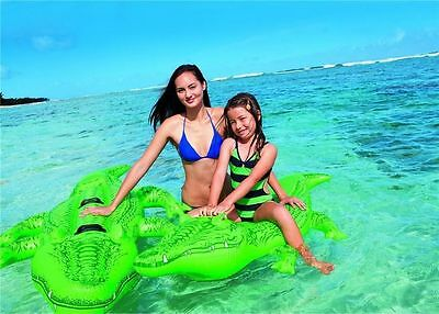 Giant Gator Large Inflatable Crocodile Beach Lilo Ride On Swimming Pool Toy • 7.99£