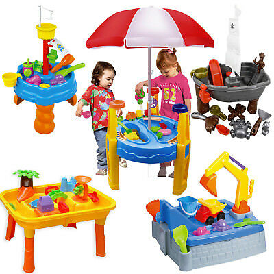 Sand And Water Table Garden Sandpit Play Set Toy With Umbrella Sand Toys Bucket • 26.99£