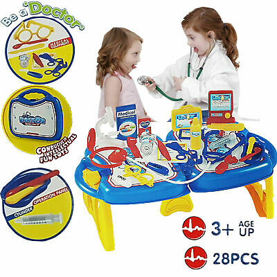 Kids Doctor Nurse Toy Set Medical Role Pretend Play Carry Box Play-set Dress Up • 9.99£