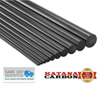 1x Diameter 6mm X Length 800mm (0.8 M) Premium 100% Carbon Fiber Rod (Pultruded) • 4.96£
