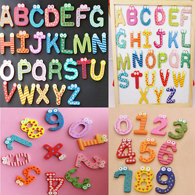 Funky Fun Colourful Wooden Magnetic Numbers Alphabet Letters Fridge Magnet Toy • 2.49£
