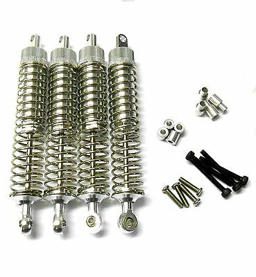 L400 1/10 Scale Buggy Alloy Adjustable Shock Absorbers Dampers 105mm Silver X 4 • 16.99£