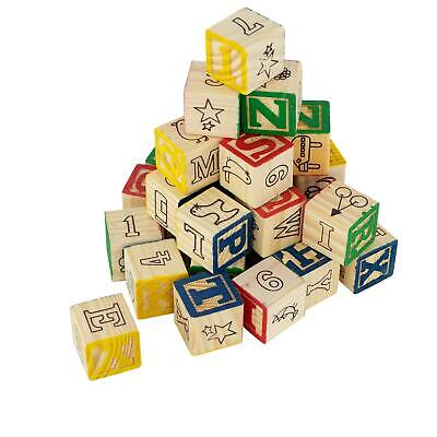 30 Wooden ABC & 123 Building Blocks Kids Alphabet Letters Numbers Bricks Toy Set • 7.99£