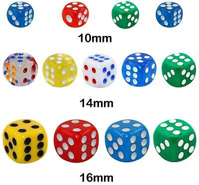New Opaque 10 14 16mm Six Sided Spot Dice D6 RPG For Ludo Monopoly Board Games • 5.49£