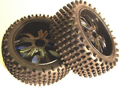 BS937-001 1/10 Scale RC Buggy Off Road Wheels And Tyres X2 Black Front Oversized • 11.99£