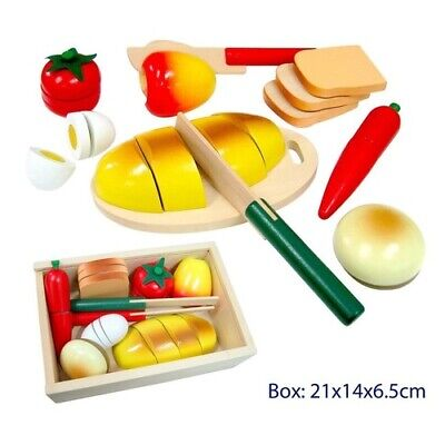 PRETEND KITCHEN Cutting FOOD Fruit Vegetables BREAD Wooden BOX Educational Toy • 17.04£