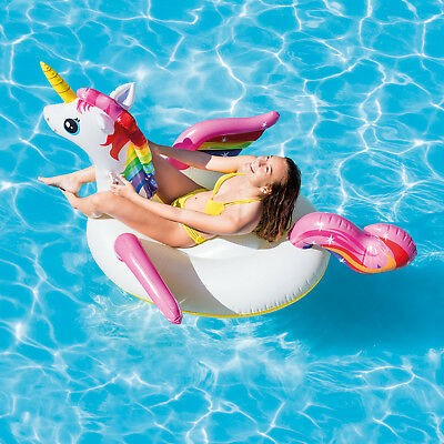 79  Giant Inflatable Unicorn Water Float Raft Ride On Pool Lounger Beach Toy • 13.99£