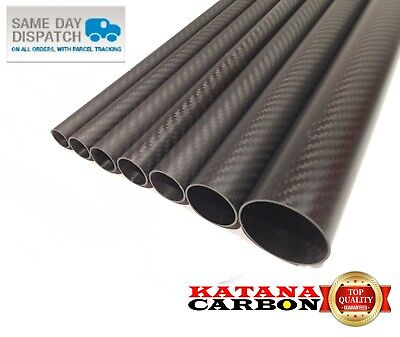 Matt 1 X OD 32mm X ID 30mm X 1000mm (1 M) 3k Carbon Fiber Tube (Roll Wrapped) • 26.20£