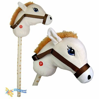 Cream Kids Hobby Horse With Galloping Neighing Sounds Childrens Toy • 7.79£