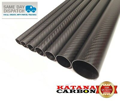 Matt 1 X OD 40mm X ID 38mm X 1000mm (1 M) 3k Carbon Fiber Tube (Roll Wrapped) • 44.95£