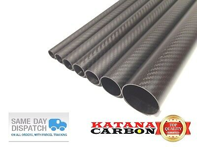 Matt (2mm Wall) OD 22mm X ID 18mm X 1000mm 1M 3k Carbon Fiber Tube Roll Wrapped • 32.70£