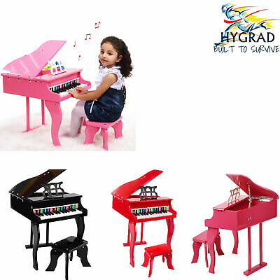 HYGRAD Educational Children's 30 Key Kids Toy Grand Baby Wooden Piano With Bench • 74.99£