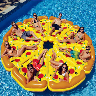 Giant Inflatable Pizza Water Float Raft Swimming Pool Lounger Beach Fun Sports • 13.99£
