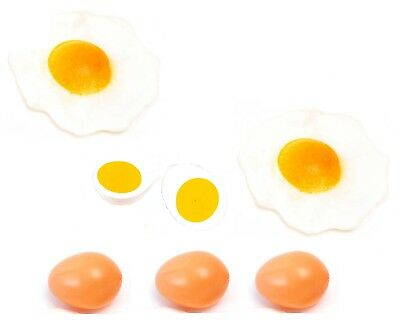 Very Realistic Life Size Pretend Play Food 7pc EGGS Set Kitchen Role Play Toy • 11.95£