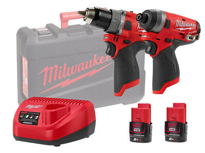 Milwaukee 12v Fuel Brushless Combi & Impact Twin Pack - M12fpp2a - 2.0ah Pack • 276£