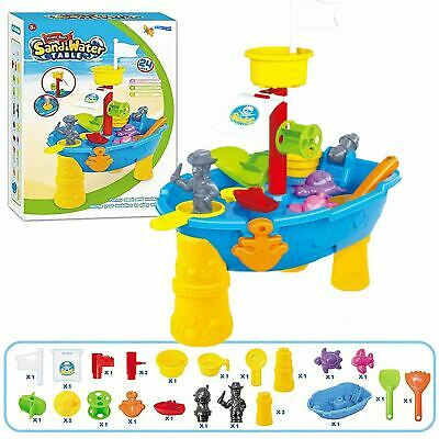 Large 24-Piece Pirate Ship Boat Sand And Water Table Garden Sandpit Play Set Toy • 16.99£