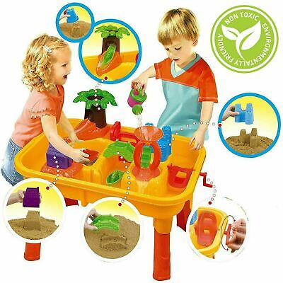Sand And Water Table Garden Sandpit Play Set Beach Toy Moulds Watering Can Mill • 26.99£