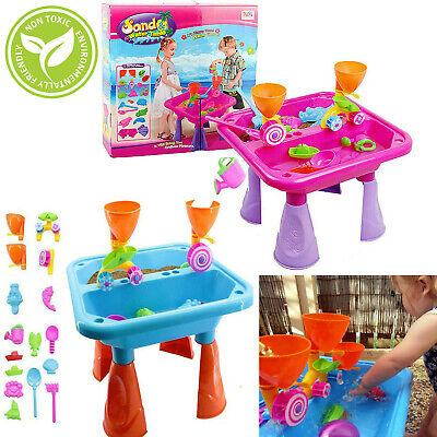 Sand And Water Table Garden Sandpit Play Set Toy Watering Can With Accessories • 21.95£