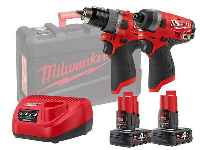 Milwaukee 12v Fuel Brushless Combi & Impact Twin Pack - M12fpp2a - 4.0ah Pack • 312£