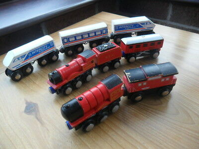 Wooden /BIG JIGS, ELC / TESCO ETC  - BUNDLE OF TRAINS  AND CARRIAGES • 15.99£