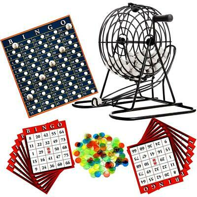 Deluxe Bingo Lotto Traditional Family Party Game Play Set Metal Cage • 10.99£
