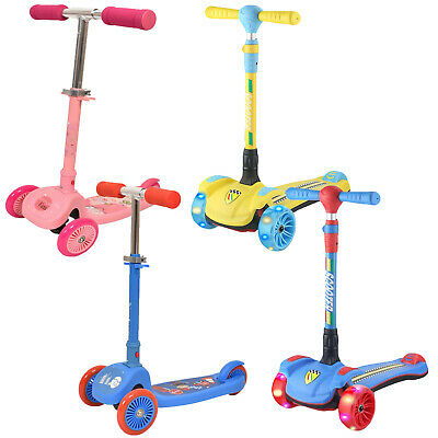 Kids 3 Wheels Scooter Adjustable Folding Bar Boys Girls Tilt N Turn Rear Brake   • 9.99£