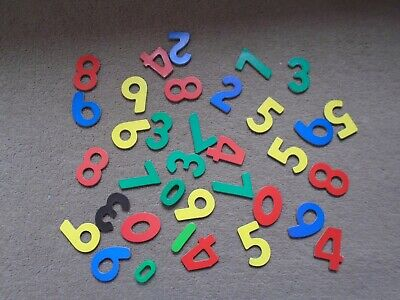 Mixed Bag Of Magnetic Wooden Numbers+2 Plastic Spares! • 2.85£