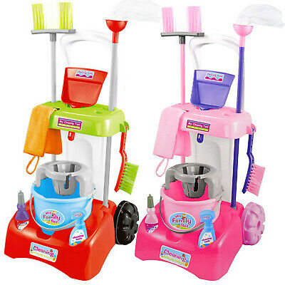 Kids Cleaning Trolley Cart With Mop & Brush Role Toy Set With Cleaning Tools • 14.99£